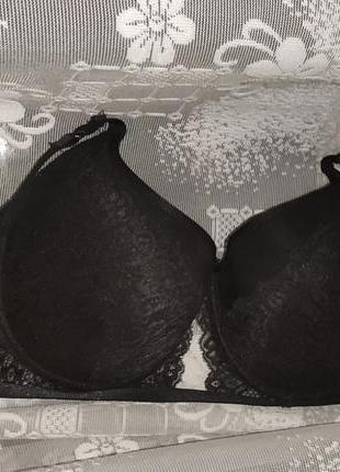 Формована плотна чашка на косточках ліф бра ліфчик бюстик чорний мережево 80f 5-6 розмір грудей