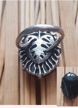 Винтажное серебряное кольцо с натуральным камнем черный агат,вінтаж,перстень,серебро