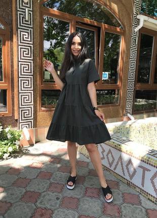 Летнее свободное платье лен