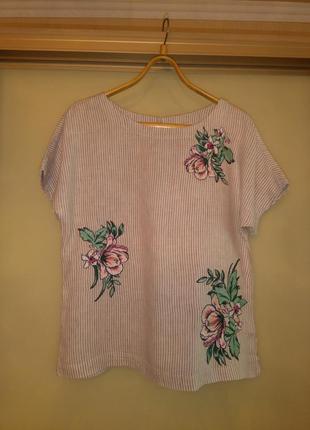 Красивая льняная блузка/рубашка/футболка в полоску с вышивкой marks & spencer (100% лён)