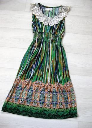 Платье mizumi зелёное с разноцветным принтом с кружевным белым воротником
