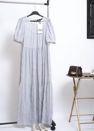 Трендовое новое ярусное длинное платье парашют миди с воланами и рукавами буфами zara xs s
