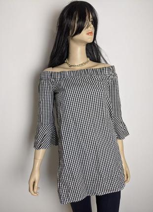 🔥🔥🔥 блузка рубашка с открытыми плечами в клетку amisu на рост 160 см