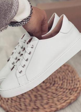 Кеды белые стильные кожаные