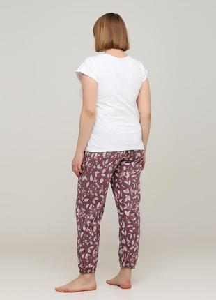 Летний женский комплект футболка со штанами, из хлопка.