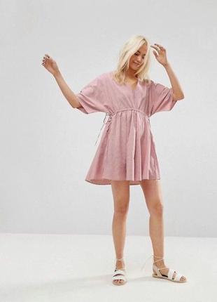 Хлопковое розовое платье свободное мини