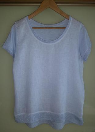 Льняная/коттоновая блузка/футболка с люрексом (италия) лён + хлопок