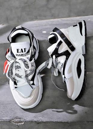 Черно белые масивные кроссовки/распродажа