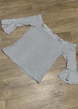 Блузка футболка тельняшка открытые плечи