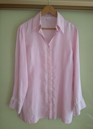 Розовая льняная рубашка с кружевом camaieu (испания) 100% лён