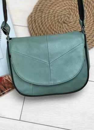 Женская зеленая сумка натуральная кожа код 22-115
