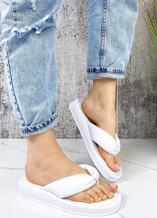 Белые босоножки шлепки тапочки кожаные шкіряні босоніжки