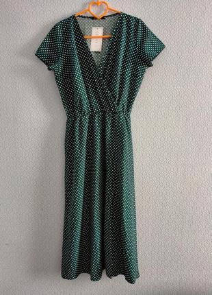 Распродажа! шикарное платье миди на запах в горошек