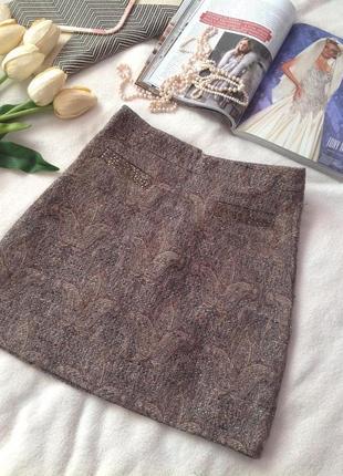 Твидовая теплая мини юбка 3-0048