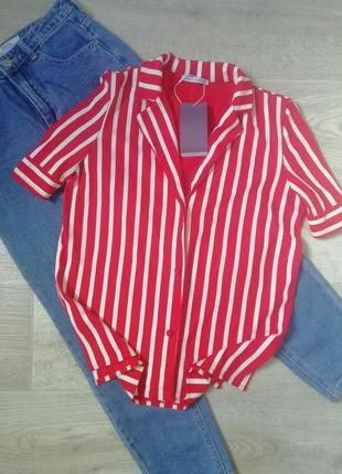 Ультрамодная блуза в полоску свободного кроя, рубашка, сорочка кофта, блузка в полоску