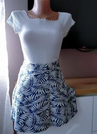Хлопковая летняя расклешенная юбка солнце на талии bershka