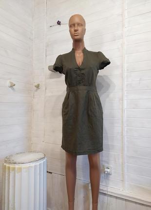 Классное льняное платье