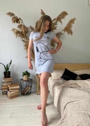 Пижама ночнушка хлопковая серая