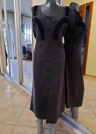 Котоново-вискозное  с кружевом платье 👗большого размера
