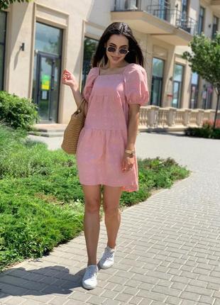 Летнее свободное платье из натуральной ткани