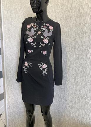 Женственное платье вышиванка от h&m, xs/s