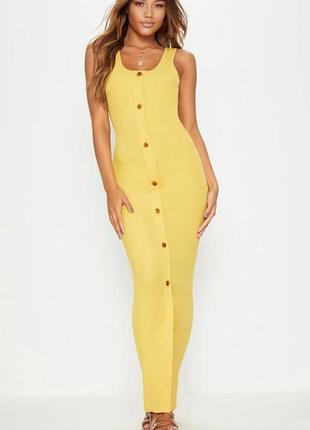 Горчичное платье в рубчик на пуговицах