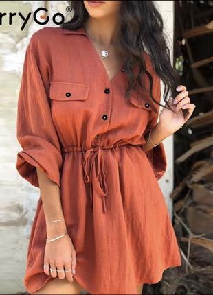 Трендовое платье с рукавами буфами