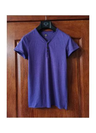 Фиолетовая тонкая футболка хлопок yes or no бобочка