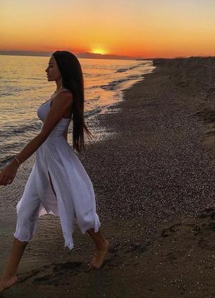 Шёлковое платье белое