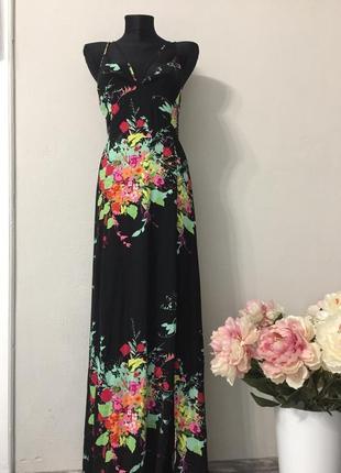 Шикарное макси платье в цветочный принт