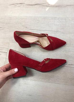 Эксклюзивные туфли лодочки итальянская кожа и замша бордо красные