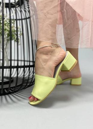 👑 шикарные кожаные лимонные сабо шлепанцы