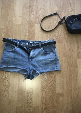 Темно-синие летние джинсовые шорты pull&bear