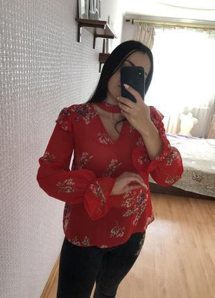 Шикарная красная блузка блуза рубашка