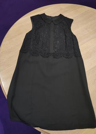 Черное нарядное классическое платье с кружевом next