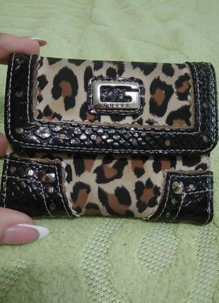 Маленький женский кошелёк guess с леопардовым принтом