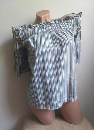 Блуза с открытыми плечами. футболка. топ. рубашка в полоску.
