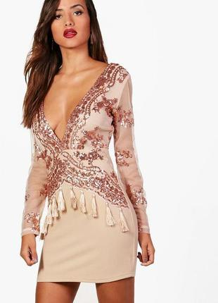 Роскошное новое платье boohoo luxe! паетки+кисточки! под золото