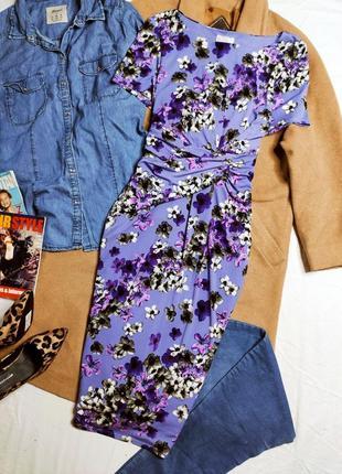 Cc petite платье сиреневое фиолетовый цветочный принт миди по фигуре карандаш футляр классическое