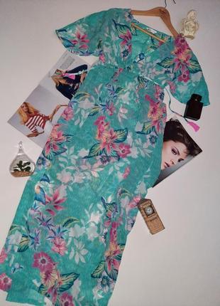 Красивое шифоновое пляжное макси платье/туника/накидка на купальник