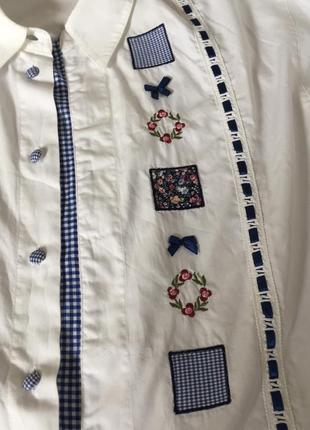 Винтажная хлопковая рубашка блуза с вышивкой