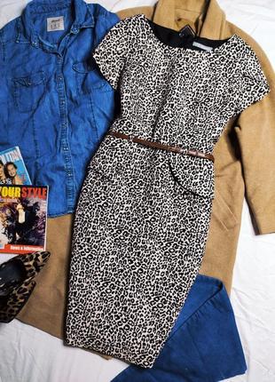 Marks spencer платье бежевое чёрное леопардовое миди карандаш с поясом по фигуре с баской