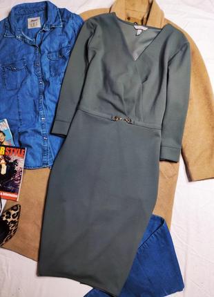 H&m платье хаки серое миди по фигуре карандаш футляр классическое базовое с золотым поясом