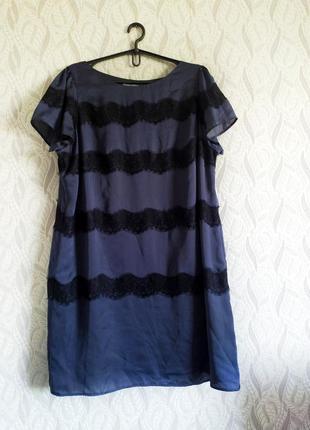 Marks & spencer атласна сукня з мереживом та блиском батал колір мокрий асфальт