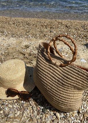 Сумка летняя, пляжная, плетеная сумка бежевая