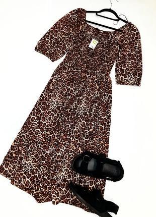 Миди платье в актуальный принт с пышными рукавами фонариками