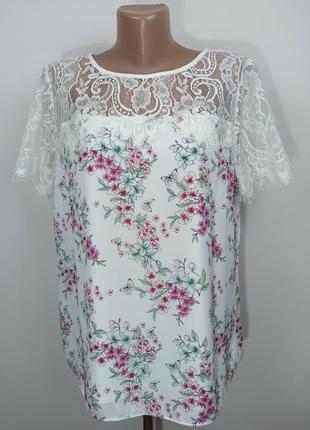 Блуза нежная кружевная в цветочный принт с кружевной кокеткой uk 16/44/xl