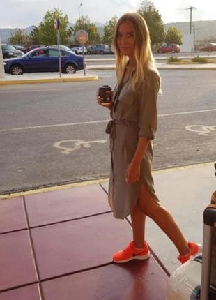 Платье рубашка h&m на пуговицах с поясом