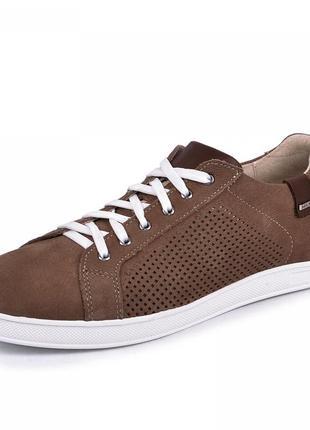 Мужские туфли на шнурках на плоской подошве коричневые (натуральный нубук) весенние/летние/осенние