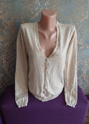 Нежная женская кашемировая кофта на пуговицах р.44/46 джемпер пуловер